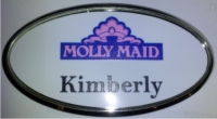 A Custom Printed Name Tag, Oval Printed Name Badge. Magnetic available.
